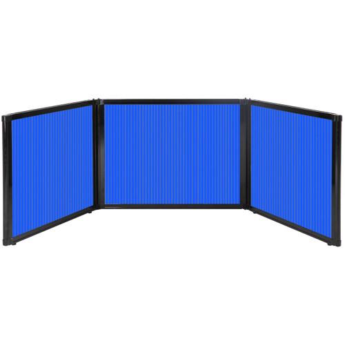 "Folding Tabletop Display 99"" x 24"" Blue Polycarbonate"