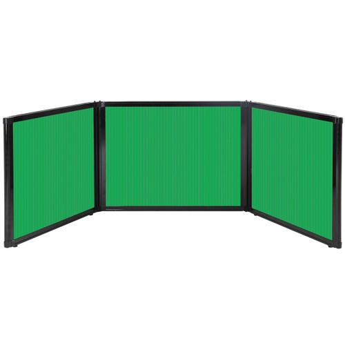 "Folding Tabletop Display 99"" x 24"" Green Polycarbonate"
