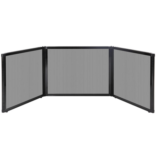 "Folding Tabletop Display 99"" x 24"" Light Gray Polycarbonate"