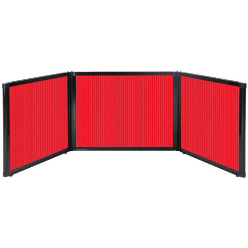 """Folding Tabletop Display 99"""" x 24"""" Red Polycarbonate"""