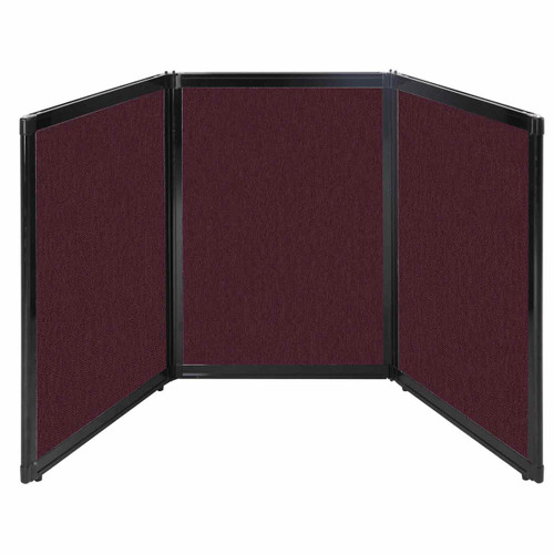 "Folding Tabletop Display 78"" x 36"" Cranberry Fabric"