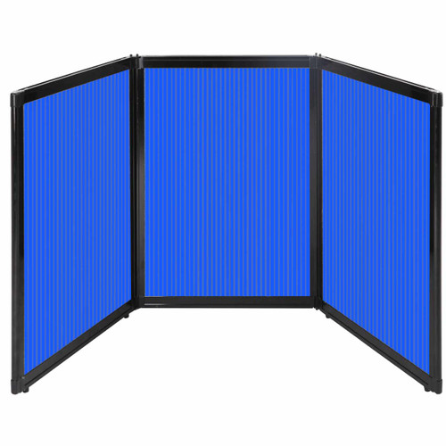 "Folding Tabletop Display 78"" x 36"" Blue Polycarbonate"