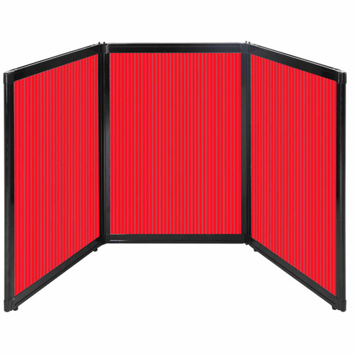 """Folding Tabletop Display 78"""" x 36"""" Red Polycarbonate"""