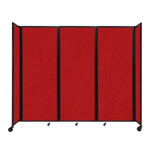 """Room Divider 360 Folding Portable Partition 8'6"""" x 7'6"""" Red Fabric"""
