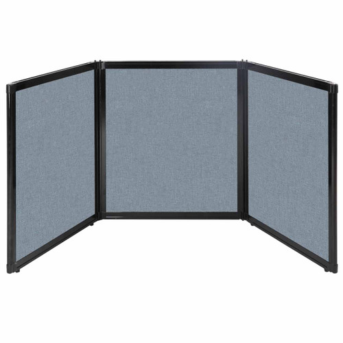 "Folding Tabletop Display 99"" x 36"" Powder Blue Fabric"