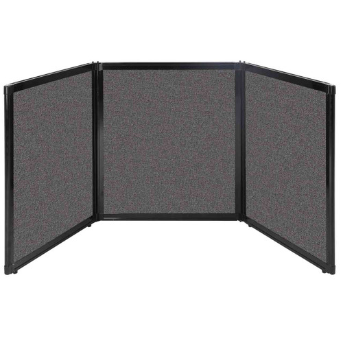 "Folding Tabletop Display 99"" x 36"" Charcoal Gray Fabric"