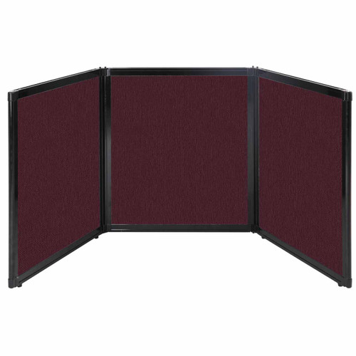 "Folding Tabletop Display 99"" x 36"" Cranberry Fabric"