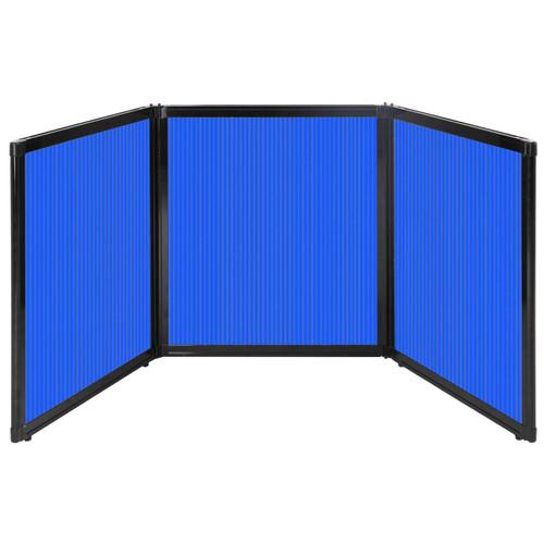"Folding Tabletop Display 99"" x 36"" Blue Polycarbonate"