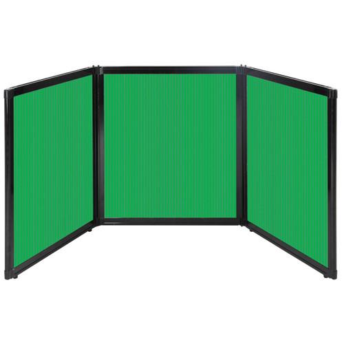"Folding Tabletop Display 99"" x 36"" Green Polycarbonate"