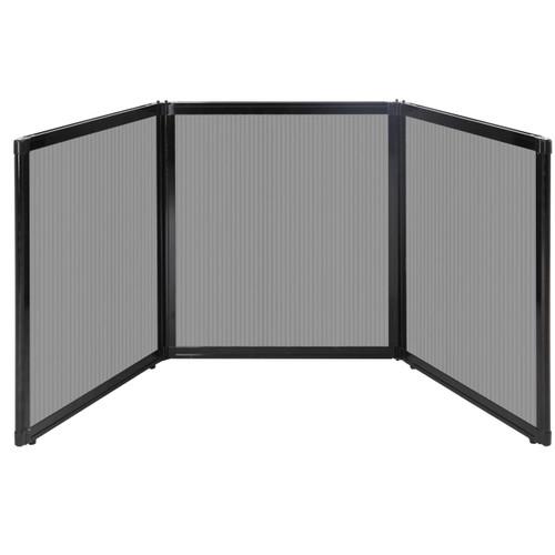 "Folding Tabletop Display 99"" x 36"" Light Gray Polycarbonate"