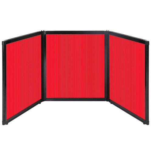 """Folding Tabletop Display 99"""" x 36"""" Red Polycarbonate"""
