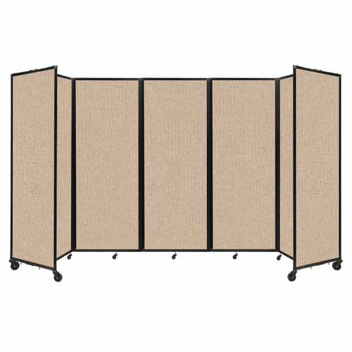 """Room Divider 360 Folding Portable Partition 14' x 7'6"""" Beige Fabric"""