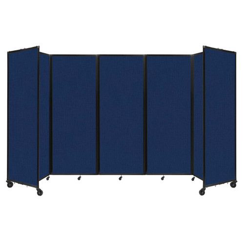 """Room Divider 360 Folding Portable Partition 14' x 7'6"""" Navy Blue Fabric"""
