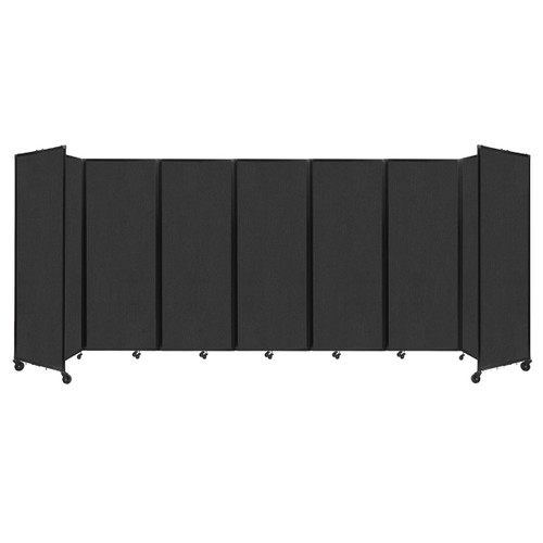 """Room Divider 360 Folding Portable Partition 19'6"""" x 7'6"""" Black Fabric"""