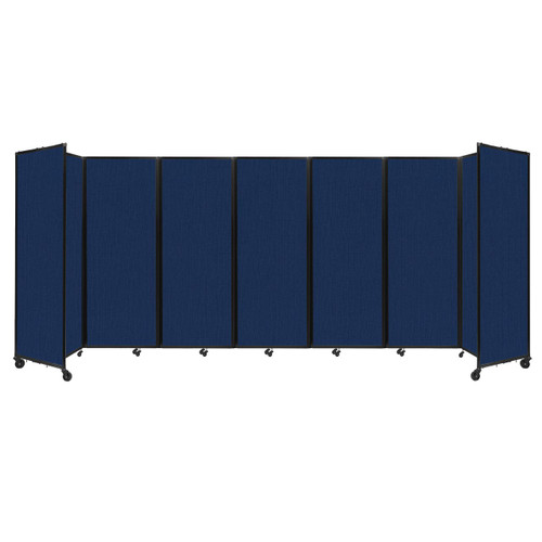 """Room Divider 360 Folding Portable Partition 19'6"""" x 7'6"""" Navy Blue Fabric"""