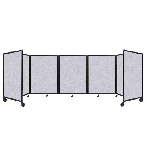 SoundSorb Room Divider 360 Folding Partition 14' x 4' Marble Gray High Density Polyester