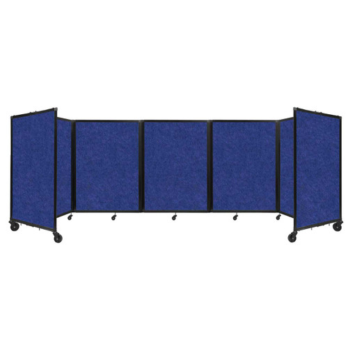 SoundSorb Room Divider 360 Folding Partition 14' x 4' Blue High Density Polyester