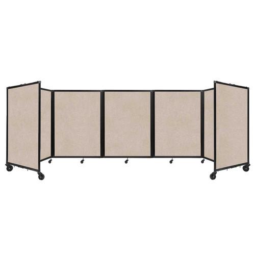 SoundSorb Room Divider 360 Folding Partition 14' x 4' Beige High Density Polyester