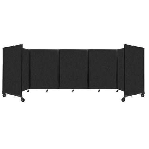 SoundSorb Room Divider 360 Folding Partition 14' x 4' Black High Density Polyester