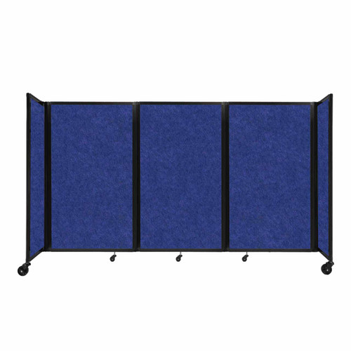 "SoundSorb Room Divider 360 Folding Partition 8'6"" x 5' Blue High Density Polyester"