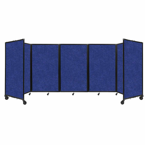 SoundSorb Room Divider 360 Folding Partition 14' x 5' Blue High Density Polyester