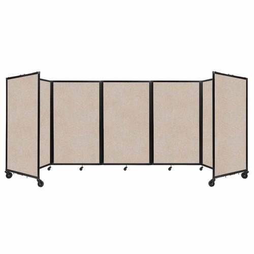 SoundSorb Room Divider 360 Folding Partition 14' x 5' Beige High Density Polyester