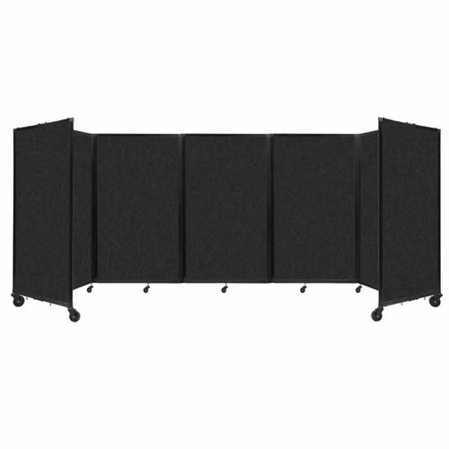 SoundSorb Room Divider 360 Folding Partition 14' x 5' Black High Density Polyester