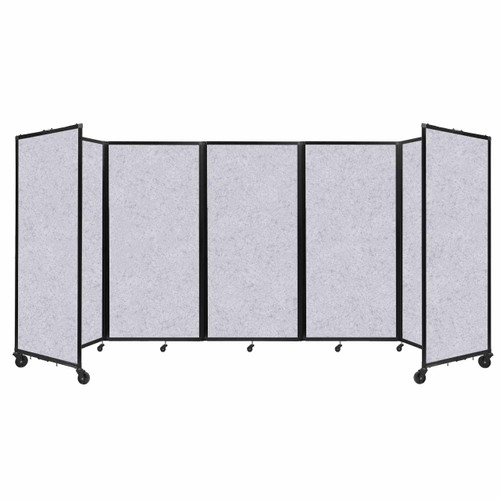 SoundSorb Room Divider 360 Folding Partition 14' x 6' Marble Gray High Density Polyester