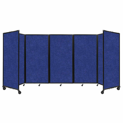 SoundSorb Room Divider 360 Folding Partition 14' x 6' Blue High Density Polyester