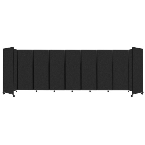 """SoundSorb Room Divider 360 Folding Partition 25' x 7'6"""" Black High Density Polyester"""