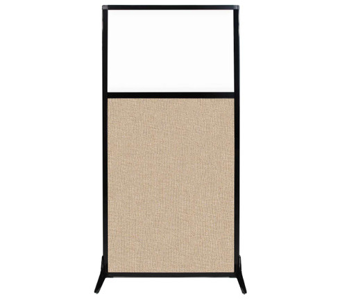 "Work Station Screen 33"" x 70"" Beige Fabric With Clear Window"