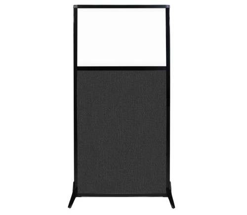"""Work Station Screen 33"""" x 70"""" Black Fabric With Clear Window"""