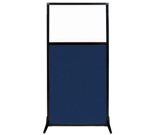 "Work Station Screen 33"" x 70"" Navy Blue Fabric With Clear Window"
