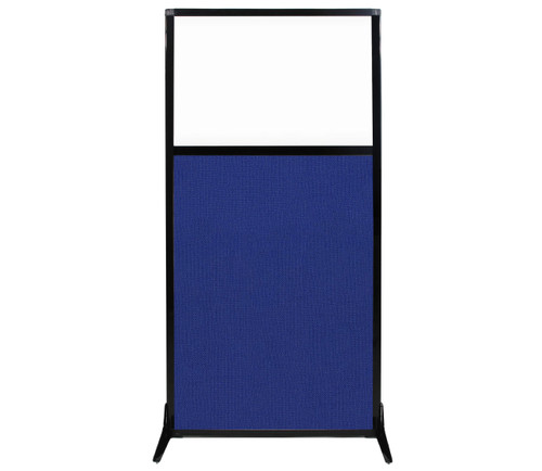 "Work Station Screen 33"" x 70"" Royal Blue Fabric With Clear Window"
