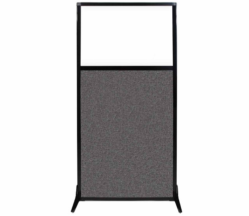 """Work Station Screen 33"""" x 70"""" Charcoal Gray Fabric With Clear Window"""