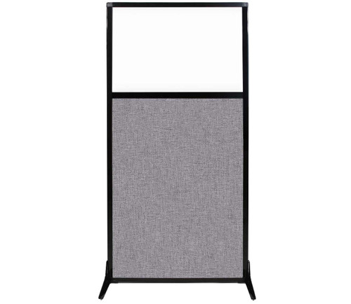 """Work Station Screen 33"""" x 70"""" Cloud Gray Fabric With Clear Window"""