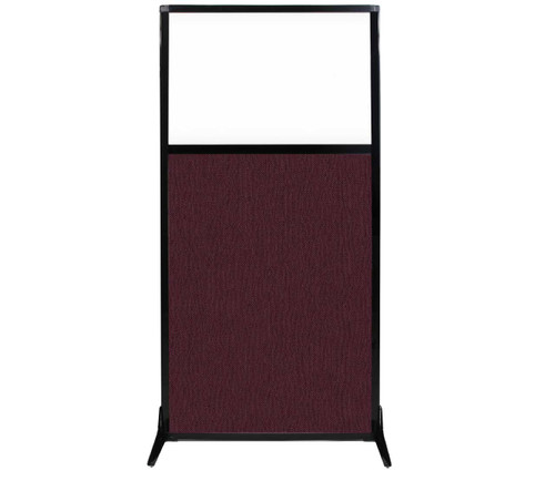 "Work Station Screen 33"" x 70"" Cranberry Fabric With Clear Window"