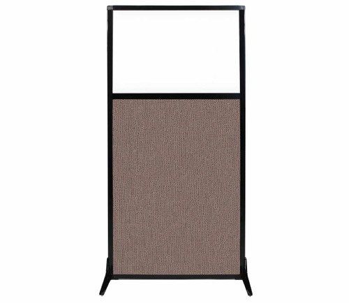 "Work Station Screen 33"" x 70"" Latte Fabric With Clear Window"