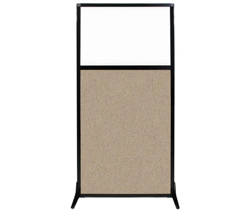 "Work Station Screen 33"" x 70"" Rye Fabric With Clear Window"