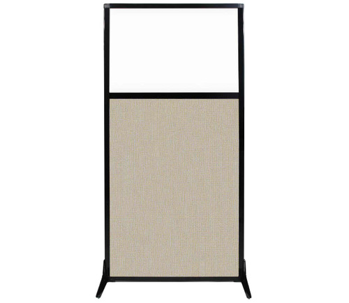 """Work Station Screen 33"""" x 70"""" Sand Fabric With Clear Window"""