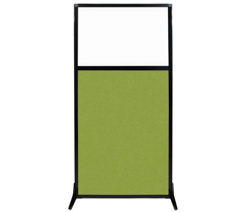 """Work Station Screen 33"""" x 70"""" Lime Green Fabric With Clear Window"""