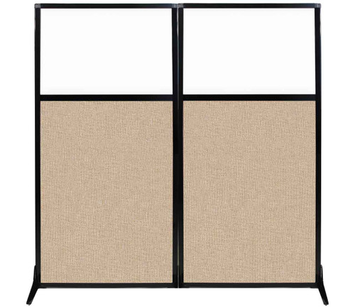 """Work Station Screen 66"""" x 70"""" Beige Fabric With Clear Window"""