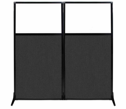 """Work Station Screen 66"""" x 70"""" Black Fabric With Clear Window"""