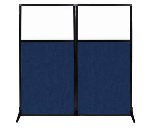 """Work Station Screen 66"""" x 70"""" Navy Blue Fabric With Clear Window"""