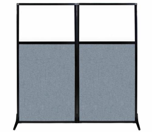 "Work Station Screen 66"" x 70"" Powder Blue Fabric With Clear Window"