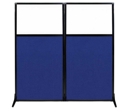 "Work Station Screen 66"" x 70"" Royal Blue Fabric With Clear Window"