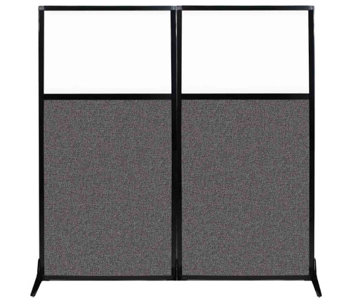 """Work Station Screen 66"""" x 70"""" Charcoal Gray Fabric With Clear Window"""