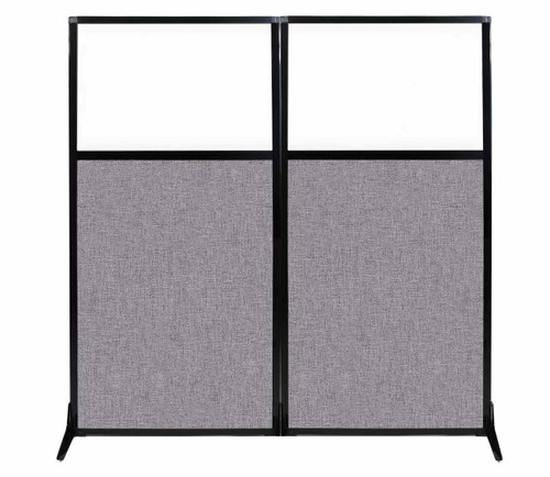 """Work Station Screen 66"""" x 70"""" Cloud Gray Fabric With Clear Window"""