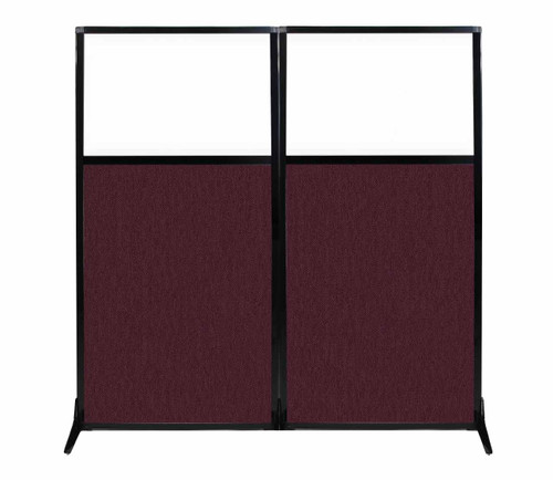 "Work Station Screen 66"" x 70"" Cranberry Fabric With Clear Window"