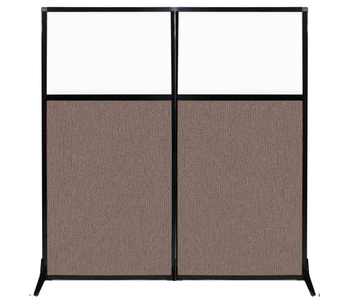 "Work Station Screen 66"" x 70"" Latte Fabric With Clear Window"